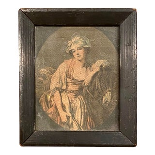 Petite Framed Antique Equestrian Portrait on Linen With Woman For Sale