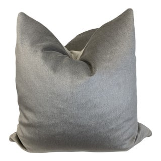 "Mohair Velvet in Silver 22"" Pillows-A Pair For Sale"