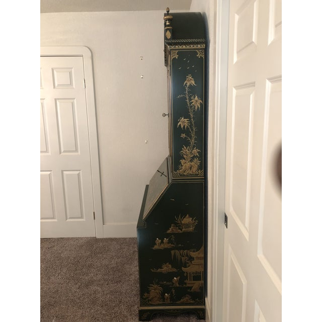 Chinoiserie Emerald Green Color Secretary Cabinet For Sale In San Francisco - Image 6 of 9
