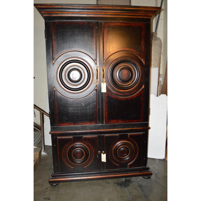 Vintage Circle Motif Wood Armoire - Image 2 of 7
