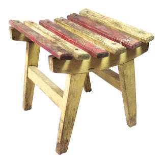 1930s Vintage Rustic Painted Wood Low Stool For Sale