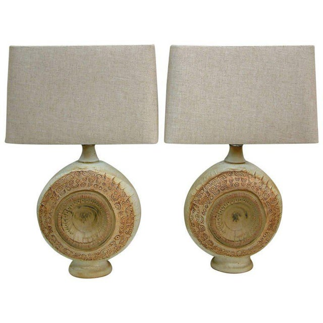 Circa 1970, Bernard Rooke, Brown, Ivory, Tan, Stoneware, Table Lamps - a Pair For Sale - Image 11 of 11