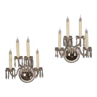 1940s English Vintage George III Style Four Arm Cut Glass Sconces - a Pair For Sale