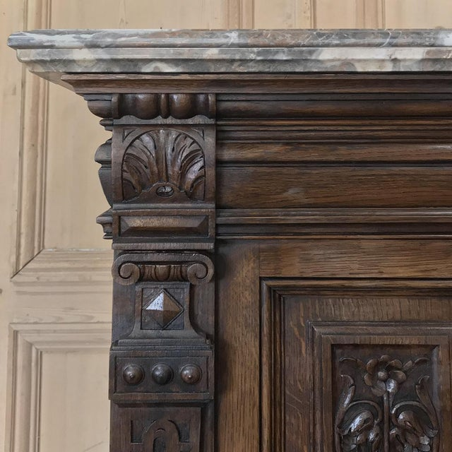 Gray 19th Century French Louis XIV Marble Top Display Buffet For Sale - Image 8 of 13