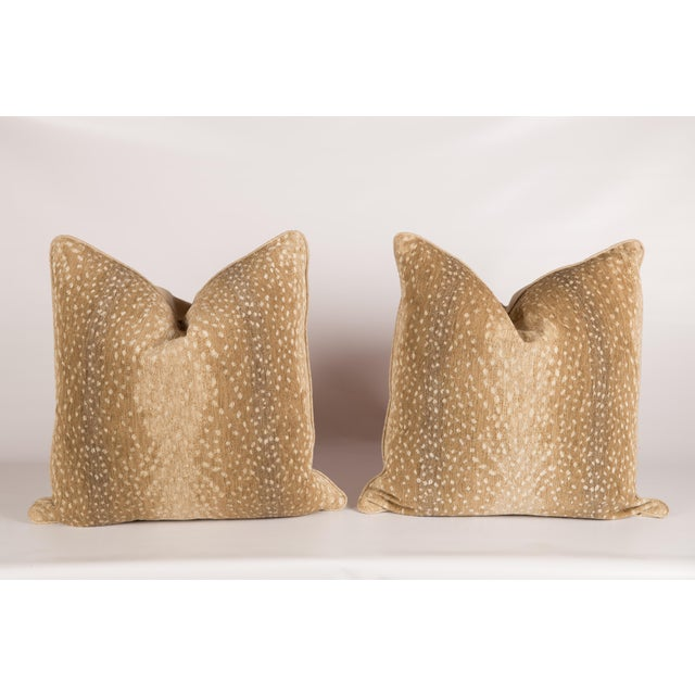 Khaki Chenille Antelope Pillows - a Pair - Image 2 of 5
