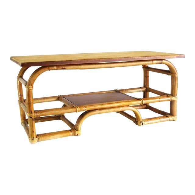 1970s Boho Chic Bamboo Coffee Table For Sale