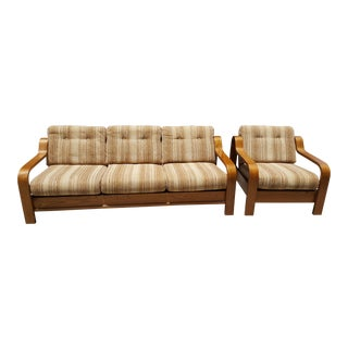 1970s Mid Century Bentwood Sofa and Chair by Taylor Ramsey - a Pair For Sale