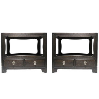 Pair of Michael Taylor for Baker Furniture Asian Oriental End Tables Nightstands For Sale