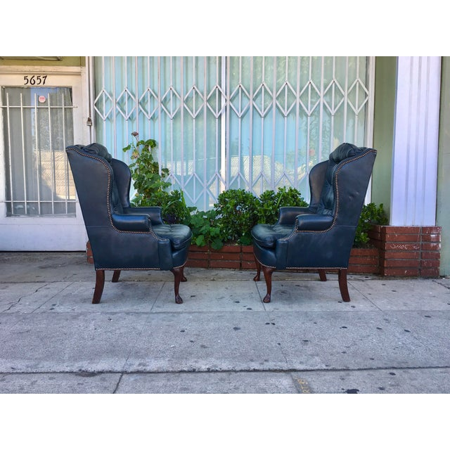 Vintage Tufted Leather Chairs - A Pair - Image 4 of 7