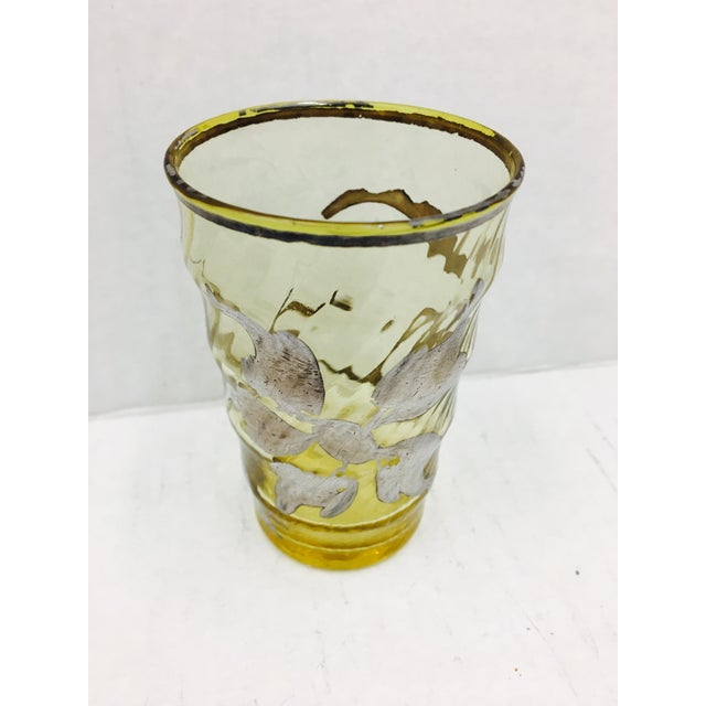 Yellow Antique Silver Overlay Bud Vase For Sale - Image 8 of 9