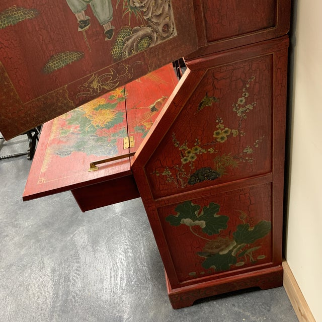 20th Century Chinoiserie Red Lacquered Bureau Bookcase For Sale In Milwaukee - Image 6 of 13