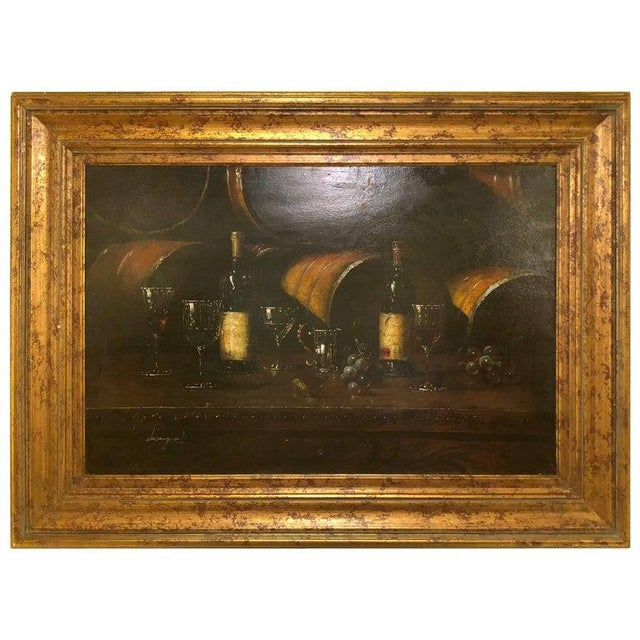 Wine Bartolome Luzanquis Oil on Canvas Still Life of Wine Bottles With Glasses For Sale - Image 8 of 8