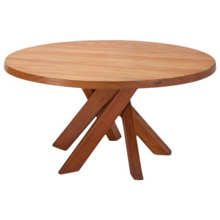 Pierre Chapo T21 Round Dining Table in Solid French Elm, France, 1960s For Sale