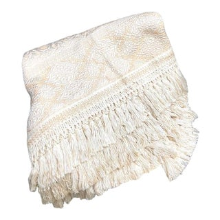 1950s-60s Italian Textured Ivory Damask Fringed King Throw For Sale