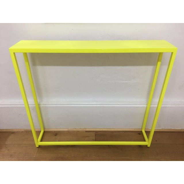 Yellow Contemporary Fluorescent Yellow Powder-Coated Metal Console Table For Sale - Image 8 of 8
