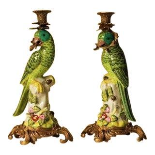 Meissen Style Porcelain Parrot Figure Candlesticks - a Pair