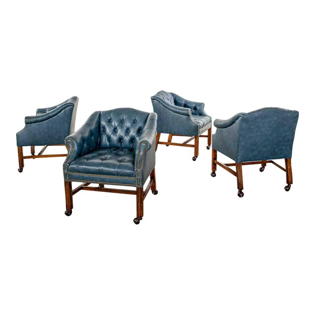 Blue Vinyl Faux Leather Chinese Chippendale Tub Style Rolling Game Chairs Set of Four For Sale