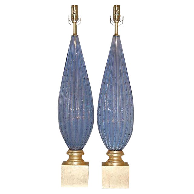 Vintage Murano Opaline Glass Table Lamps Lavender For Sale