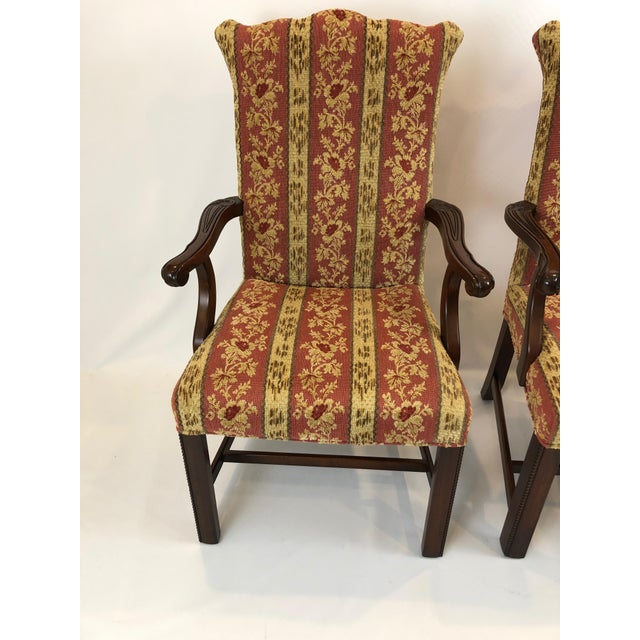 Carved Mahogany and Chenille Upholstered Armchairs - a Pair For Sale - Image 4 of 13