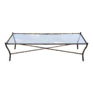 1950s Hollywood Regency Long Metal Bamboo Coffee Table For Sale