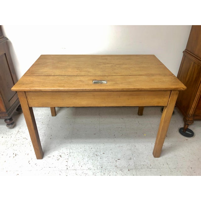 Antique Country Farm Table / Desk With Two Drawers For Sale - Image 9 of 13