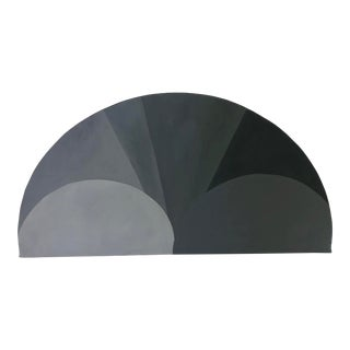 Vintage Black and White Demi-Lune Painting For Sale