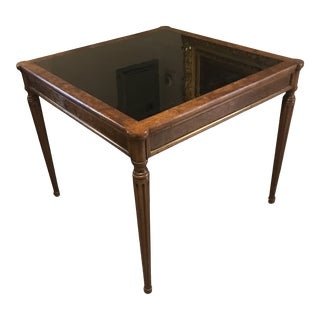 Antique Burled Wood Black Glass Top Game Table For Sale