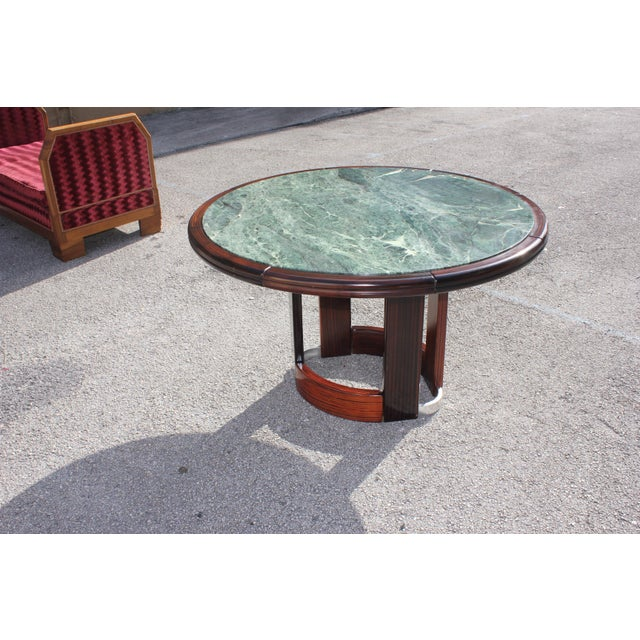 Gold French Art Deco Macassar Ebony Round Center Table With Green Marble Top For Sale - Image 8 of 13
