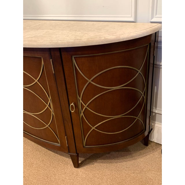 Hickory Chair Furniture Company Duchamp Demilune Sideboard With Satillia Marble Top, by Hickory Chair Furniture For Sale - Image 4 of 12