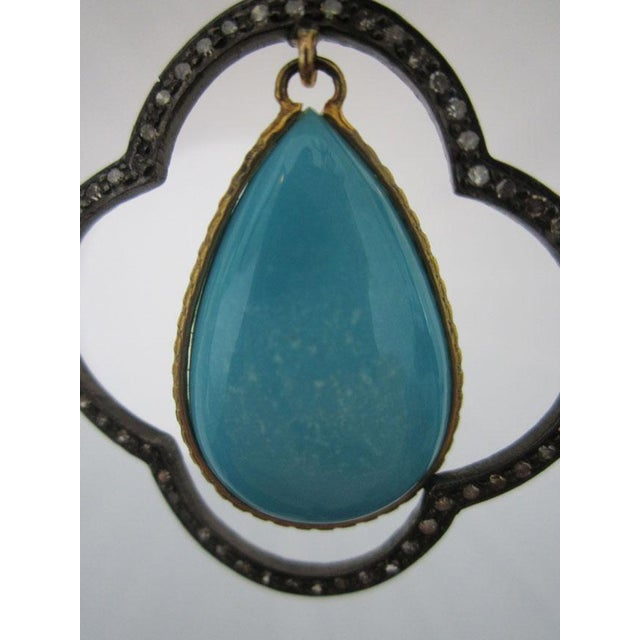 Moroccan Inspired Sterling Silver Diamond and Turquoise Earrings For Sale - Image 4 of 5