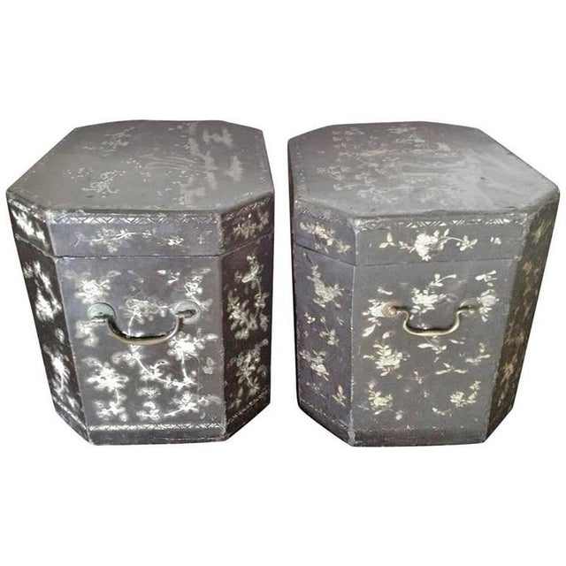 Black 19th Century Vintage Chinoiserie Lacquer Boxes- A Pair For Sale - Image 8 of 9