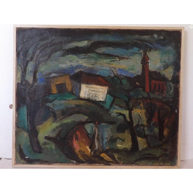 Green Mid-Century Abstract Expressionist Landscape Original Oil on Canvas Painting For Sale - Image 8 of 8