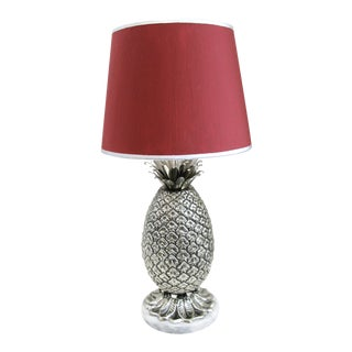 Italian Silver Plated Pineapple Table Lamp & Original Red Shade For Sale