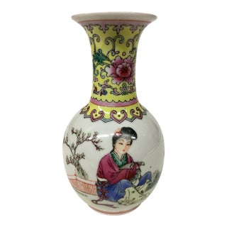 Vintage Hand Painted Chinese Porcelain Bud Vase For Sale