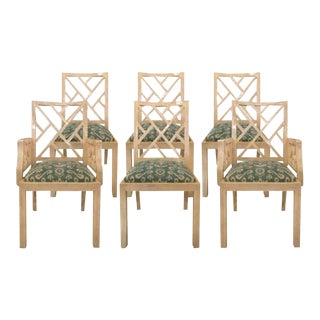Vintage Bone Tiled Dining Chairs - Set of 6 For Sale