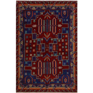 Southwestern Balouchi Anastasi Drk. Red/Blue Wool Rug - 4'10 X 6'7 For Sale