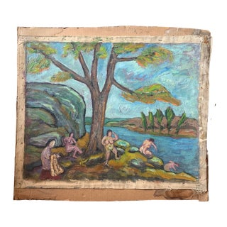 1930s Figurative Nudes with River Landscape Oil Painting by Joachim Aviron For Sale