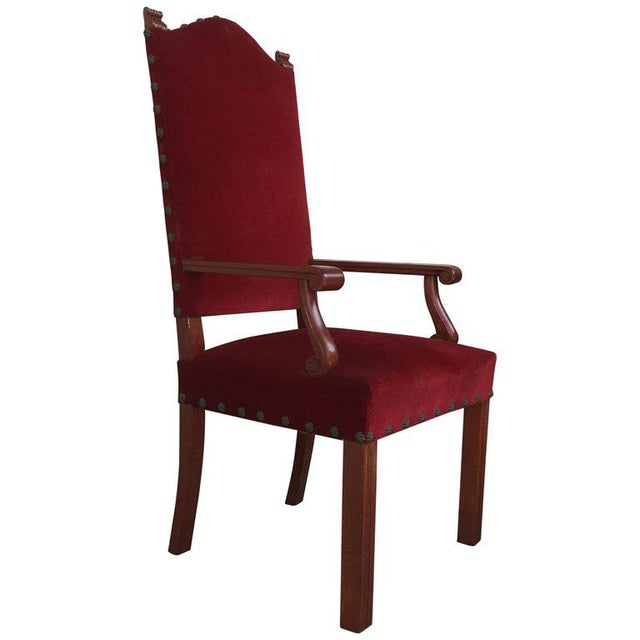 19th Century Spanish Revival High Back Armchair With Red Velvet Upholstery For Sale - Image 13 of 13