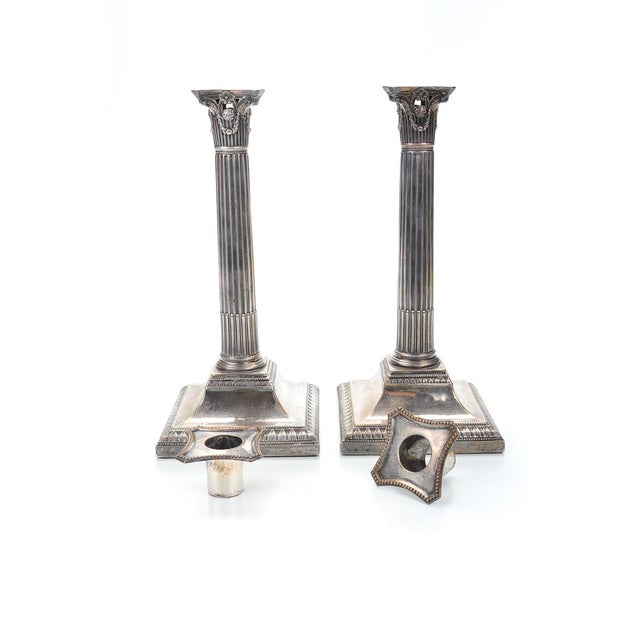 19th Century Silver Column Candleholders - A Pair - Image 2 of 9