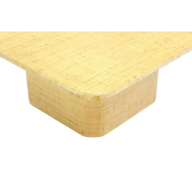 Early 20th Century Square Cloth Covered Coffee Table Under Beveled Edge. For Sale - Image 5 of 7