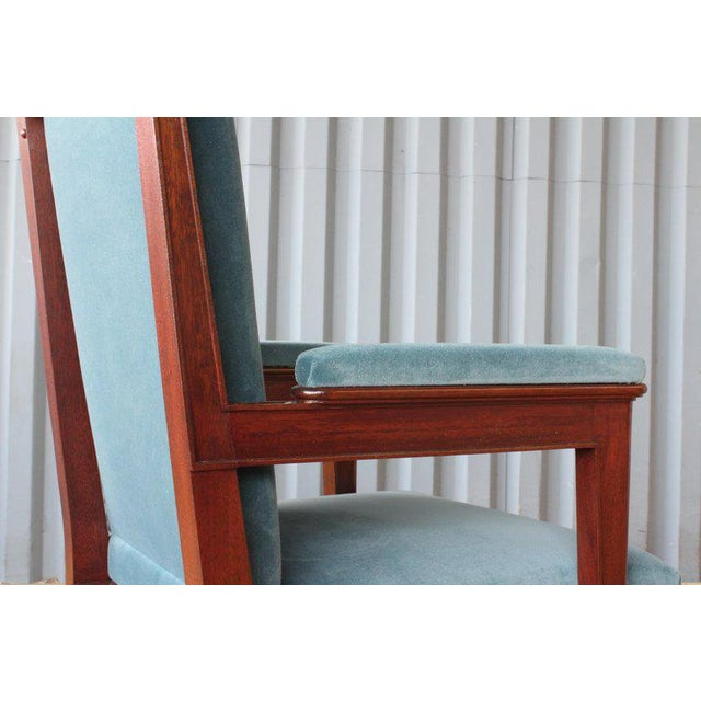Mahogany Armchair in Velvet, France, 1940s. Set of Four Available. For Sale In Los Angeles - Image 6 of 12