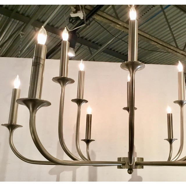 2010s Mid-Century Modern Arteriors Parzinger Style Small Breck Silk Nickel Chandelier For Sale - Image 5 of 7