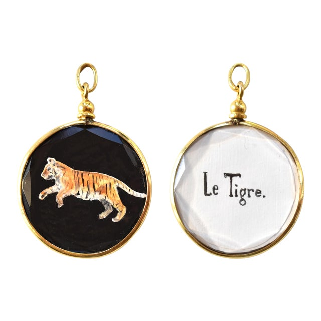 Contemporary Miniature Tiger Painting by S. Carson in an Antique French Pendant Locket- Double Sided For Sale
