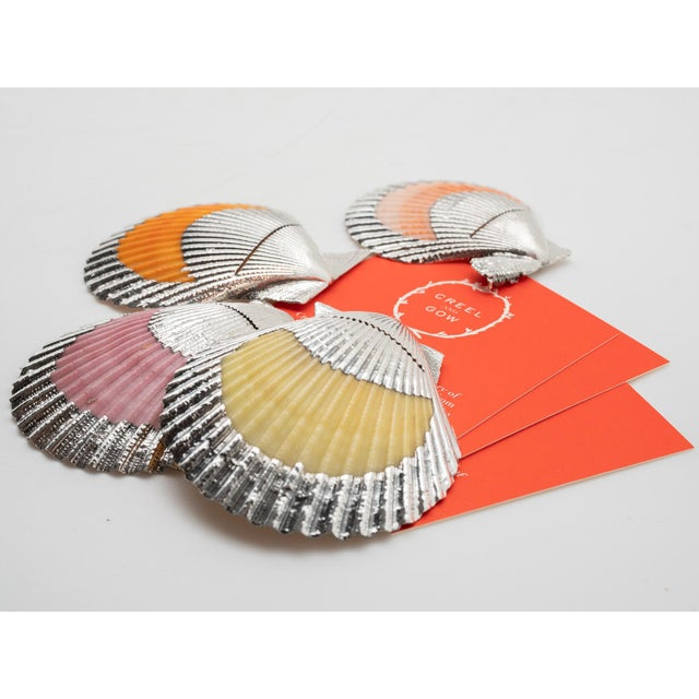 Shell Partially Silvered Cockle Place Card Holders - Set of 4 For Sale - Image 7 of 9