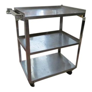 1960s Vintage Mid Century Modern Industrial Steel 3 Tier Bar Cart For Sale