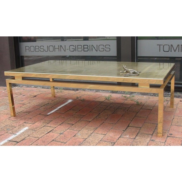 Polished Brass Etched Top Cocktail Table by Rosseau For Sale - Image 4 of 10