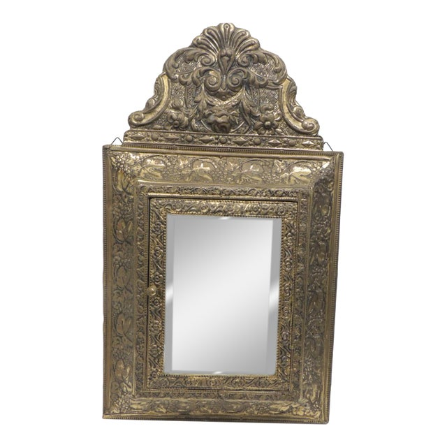 Antique Repose Brass Vanity Reliquary with Mirrored Door and Coat Brushes For Sale