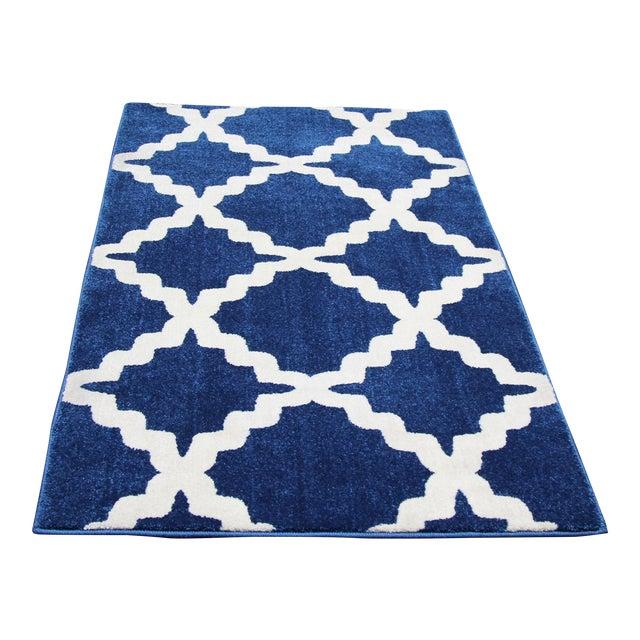 "Blue Trellis Pattern Rug - 2'8"" X 5' - Image 1 of 3"
