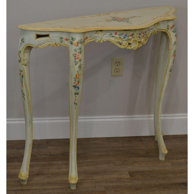 White Resin Folding Table, Italian Venetian Hand Painted Narrow Serpentine Console Table Chairish