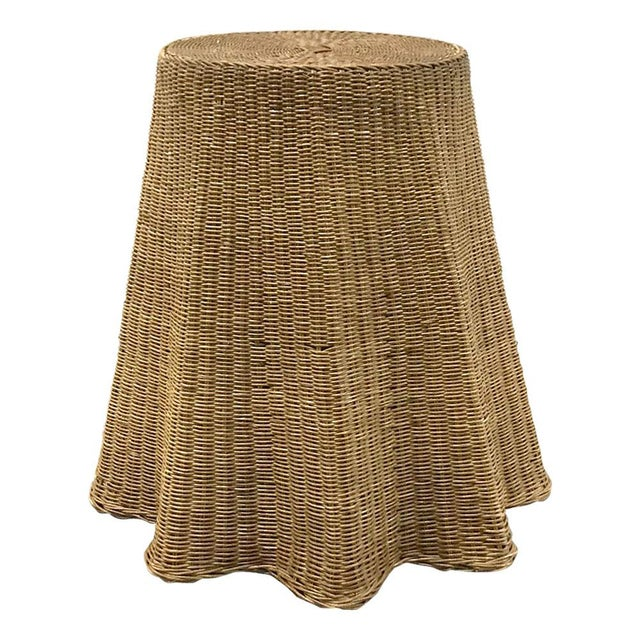 """Vintage Wicker Trompe l'Oeil """"Draped"""" Table For Sale - Image 11 of 12"""